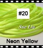 2.5mm 100yds/spool Neon Yellow (#20) Rattail Satin Cord Chinese Beading Polyester (similar but not nylon) Cord NCP5