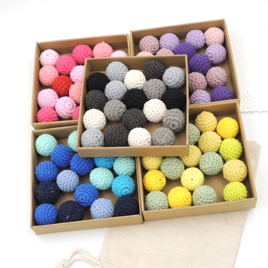 Diy Beads: 100X 20mm DIY Wooden Crochet Beads,31 Colors,100% Cotton