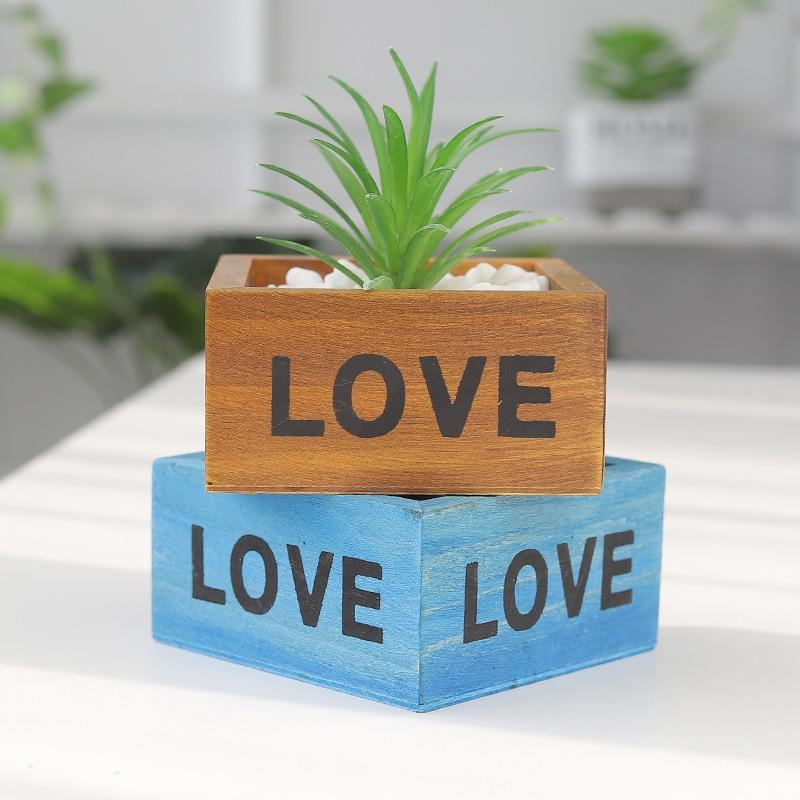 Garden Plant Pot Decorative Vintage succulent planter Wooden Boxes Crates Rectangle Table Flower Pot Gardening Device-in Flower Pots & Planters from Home & Garden
