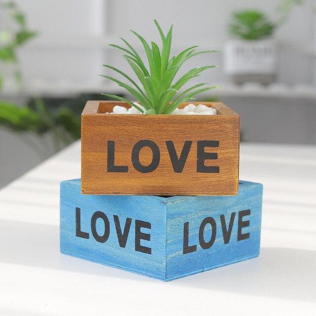 Giardino Vaso da Fiori Decorativi Depoca succulente planter Scatole di Legno Casse di Tavolo Rettangolare Vaso di Fiori Giardinaggio Dispositivo