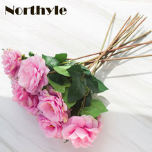 Dream House DH 12pcs /lot artificial silk rose flower real touch wedding diy fake  decoration