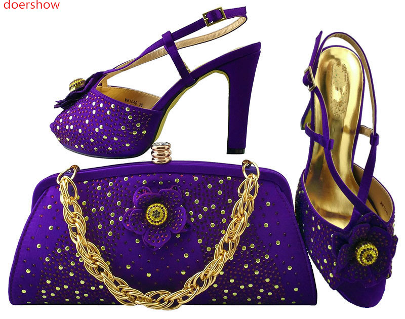 doershow 2017 Charming Italian Shoes With Matching Bags Rhinestones  High Quality African Shoes And Bags Set for party LULU1-22 doershow african shoes and bags fashion italian matching shoes and bag set nigerian high heels for wedding dress puw1 19