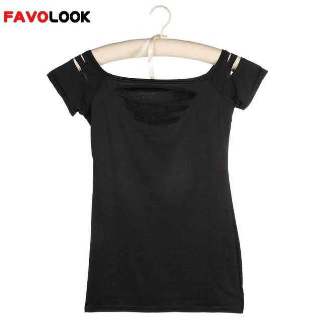 876e3f68 2018 Fashion Women T-Shirt Sexy Ripped Slashed Black Tight T Shirt Top  Clubwear Cut out Tee Club Wear
