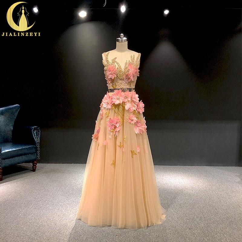 JIALINZEYI image réelle Champagne avec des fleurs de plumes roses longueur de plancher Elie saab robes formelles robes de soirée de fête