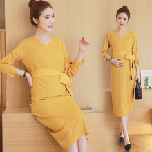 2016 New Autumn Long Sleeved Dress Maternity Dress Yellow Black Maternity Clothes For Pregnant Women Clothing Spring V-neck