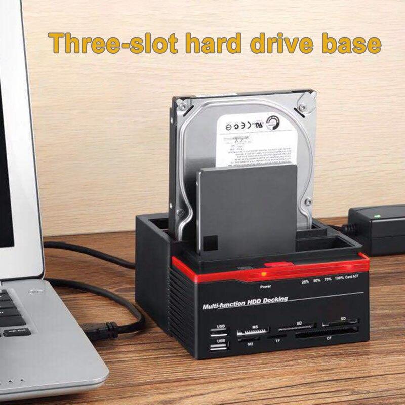 3 emplacements support de disque dur 2 Port USB Base de disque dur multifonction pour lecteur de carte QJY99