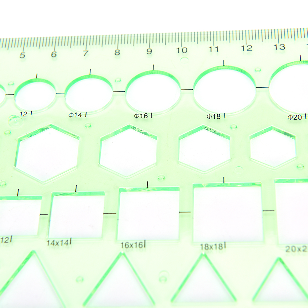 Drafting Supplies Lovely Peerless 0-20cm Plastic Straight Ruler Green Circles Squares Geometric Template Ruler For Student School Stationery Handsome Appearance Rulers