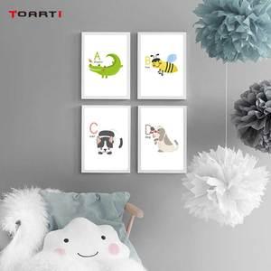 Image 2 - Animali del fumetto di Alfabeto Stampe Poster Coccodrillo Ape della Tela di Canapa Pittura Sul Muro Colorato di Arte Immagini Per Bambini Camera Da Letto Complementi Arredo Casa