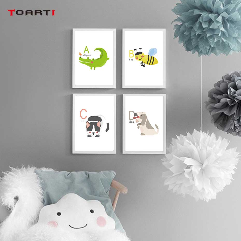 Image 2 - Cartoon Animals Alphabet Prints Posters Alligator Bee Canvas Painting On The Wall Colorful Art Pictures Kids Bedroom Home Decor-in Painting & Calligraphy from Home & Garden