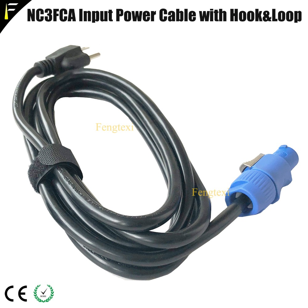 EU/US/AU/UK Professional Stage Beam Light Blue NC3FCA Power Cable With Hook&Loop Belt