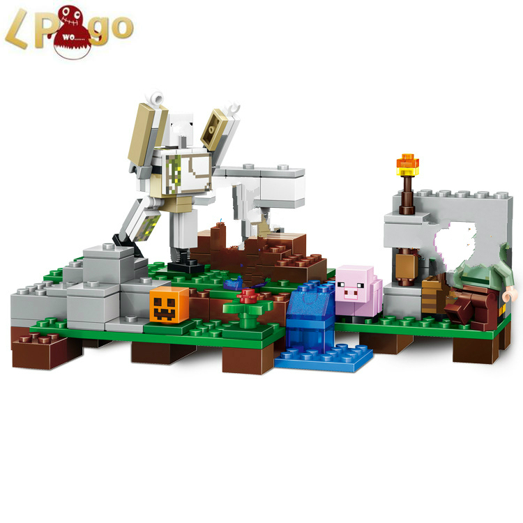 220pcs set font b lepin b font Minecraft The Iron Golem 21123 Building Kit Compatible font