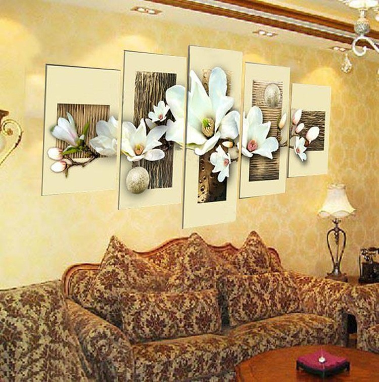 hand painted oil wall art Purple flowers water side home decoration ...