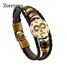 ZORCVENS 12 Constellations Bracelet Fashion Jewelry Leather Bracelet Men Casual Personality Zodiac Signs Punk Bracelet