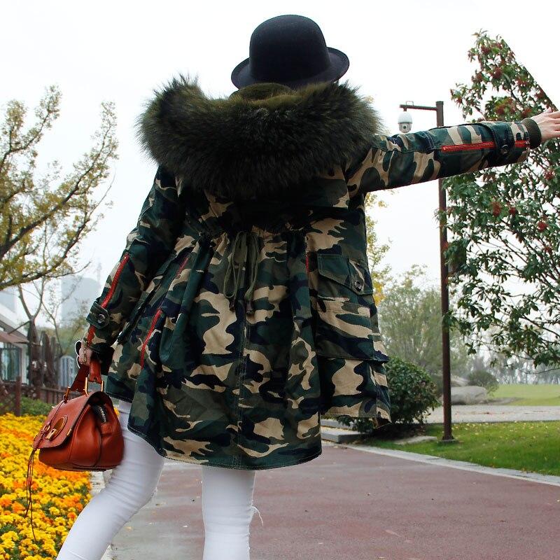 Femmes Naturel Grand Manteaux Longue Vestes c6 c2 Et Capuchon Tendance De Femme C1 c3 c5 Doublure Parkas Épais Fourrure Vert À c4 Raton Mode Laveur Camouflage Armée IRtIqBr