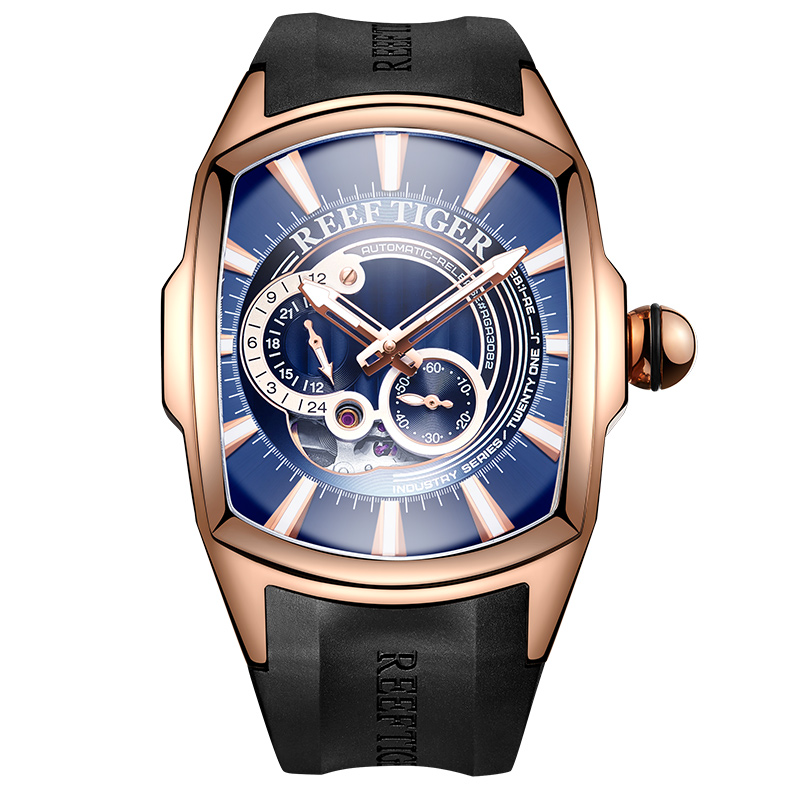 2019 Reef Tiger/RT New Arrival Mens Rose Gold Case Blue Dial Rubber Strap Waterproof Automatic Watch RGA3069S 機械 式 腕時計 スケルトン