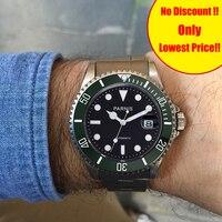Parnis 40 мм зеленый керамический Дайвинг Тритий мужские часы нержавеющая сталь Группа Механическая Автоматическая для мужчин s reloj automatico челов