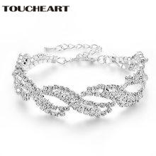 Женский браслет с кристаллами toucheart свадебный для тенниса