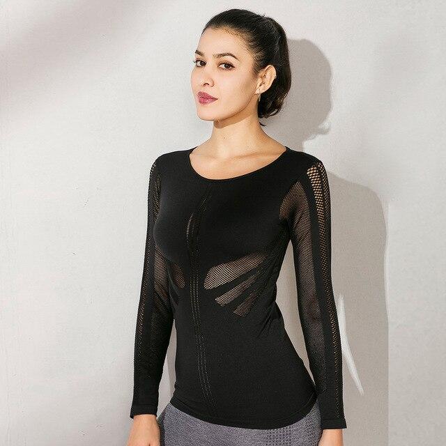 Chemise à manches longues femmes évider Sport Top Yoga chemises Stretch Fitness Jersey entraînement t-shirt Slim Fit Sport T-shirts