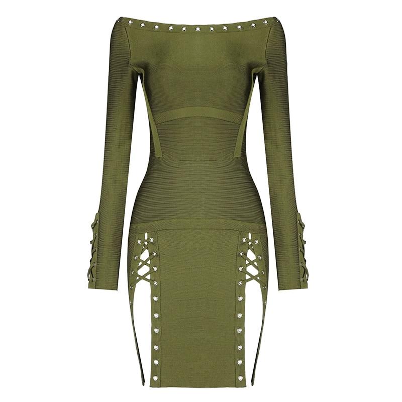 Top Quality Green Long Sleeve Slash Neck Rayon Bandage Dress Evening Party Elegant Dress