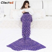 цены Cilected High Quality Fish Scales Mermaid Blanket Tails Knitted Plaid Winter Handmade Fish Tail Throw Cotton Thread Blanket