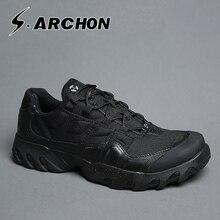 ARCHON на осень-зиму кожаные сапоги в стиле «милитари», мужские ботинки, мужские спецназ, водонепроницаемый тактика сапоги, открытый скальные туфли F