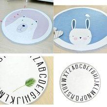 Cartoon Animals Rabbit Bear English Letters Baby Play Mats Child Crawling Blanket Carpet Nordic Style Kids Room Home Decoration(China)
