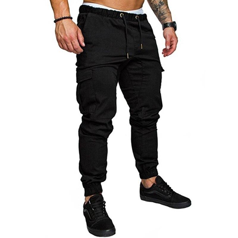 Mens Multi-pocket Cargo Pants Elastic Waist Hip Hop  Fitness Pants Solid Color Casual Trousers