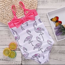 ФОТО 2018 new arrivals children beachwear girls clothes flamingo pattern backlees strap bodysuit summer flamingo outfits pink bow tie