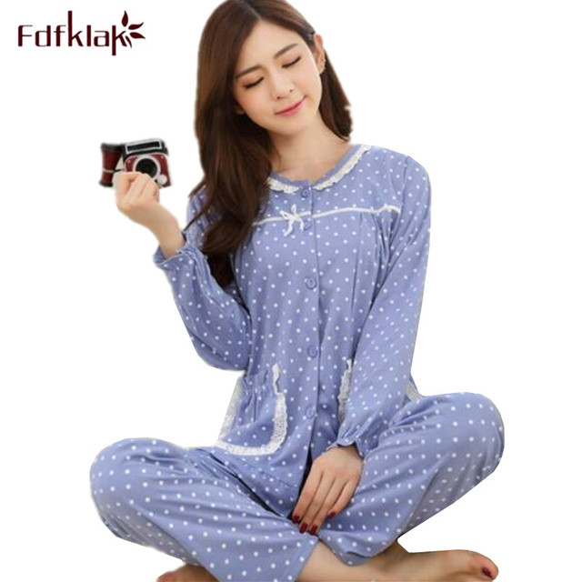 Women Cotton Pajamas Ladies Sleepwear Sets Soft Warm Winter Pajamas Sets  2018 New Arrival pijamas mujer pyjama femme Q0154 3d5cff042