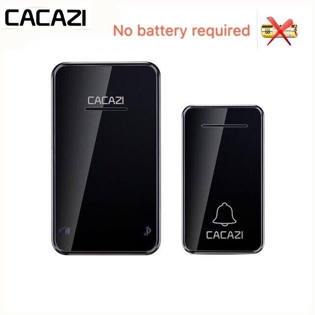 CACAZI Self-powered Wireless Doorbell Waterproof No Battery LED Light 200M Home Cordless Bell US EU Plug 1 2 Button 1 2 Receiver