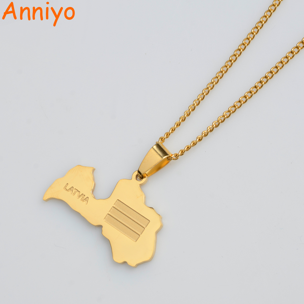 Anniyo Latvia Map Pendant Necklace for Women/Men Gold Color Latvijas Republika Maps Necklaces Jewelry Gifts #013121