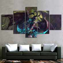 Modular Canvas Prints Pictures Wall Art 5 Panel Illidan Stormrage World Of Warcraft Video Game Painting Home Decor Posters Frame