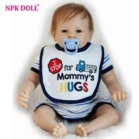 55 cm Gerçek Görünümlü Bebek Bebekler Boneca Reborn Erkek Bebe Bebek Mavi Gözler Silikon Vinil Bebekler Çocuk Doğum Günü Hediye