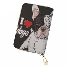 NOISYDESIGNS Women PU Leather Business Card Holder Bulldog Print ID Holders Ladies Protect Cover Credit