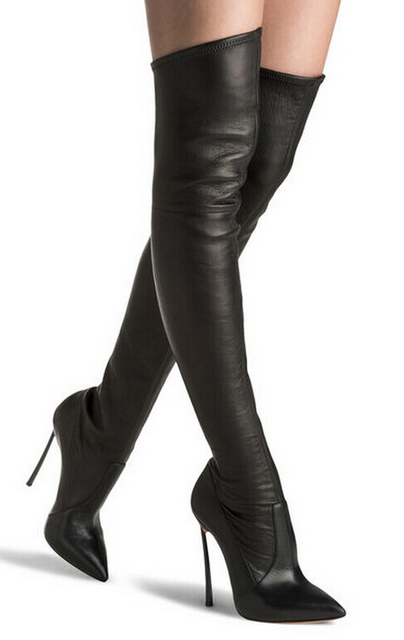 73590207c68 Brand Women Snow Boots Black Faux Suede Thigh High Boots Sexy Over the Knee  Women Boots High Heel Winter Shoes Woman FS-0143