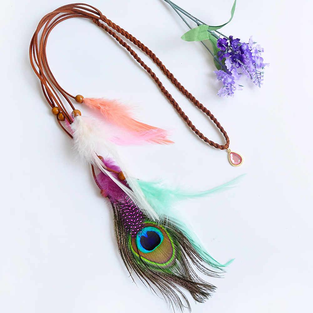 Otoky 1pc multicolorido indiano lindo pena bandana headpieces cabelo jóias transporte da gota may23
