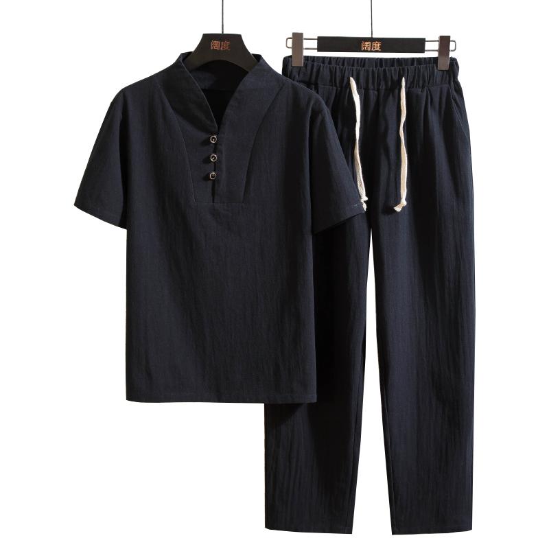 Men's Linen 2 Piece Sets Short Sleeve Summer Vintage Fit Slim V Neck Casual Linen Suits For