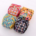 JinoBaby1.0 Reusable Baby Diapers Bamboo Waterproof Cloth Diapers Baby (4PCS Diapers+4PCS Inserts)