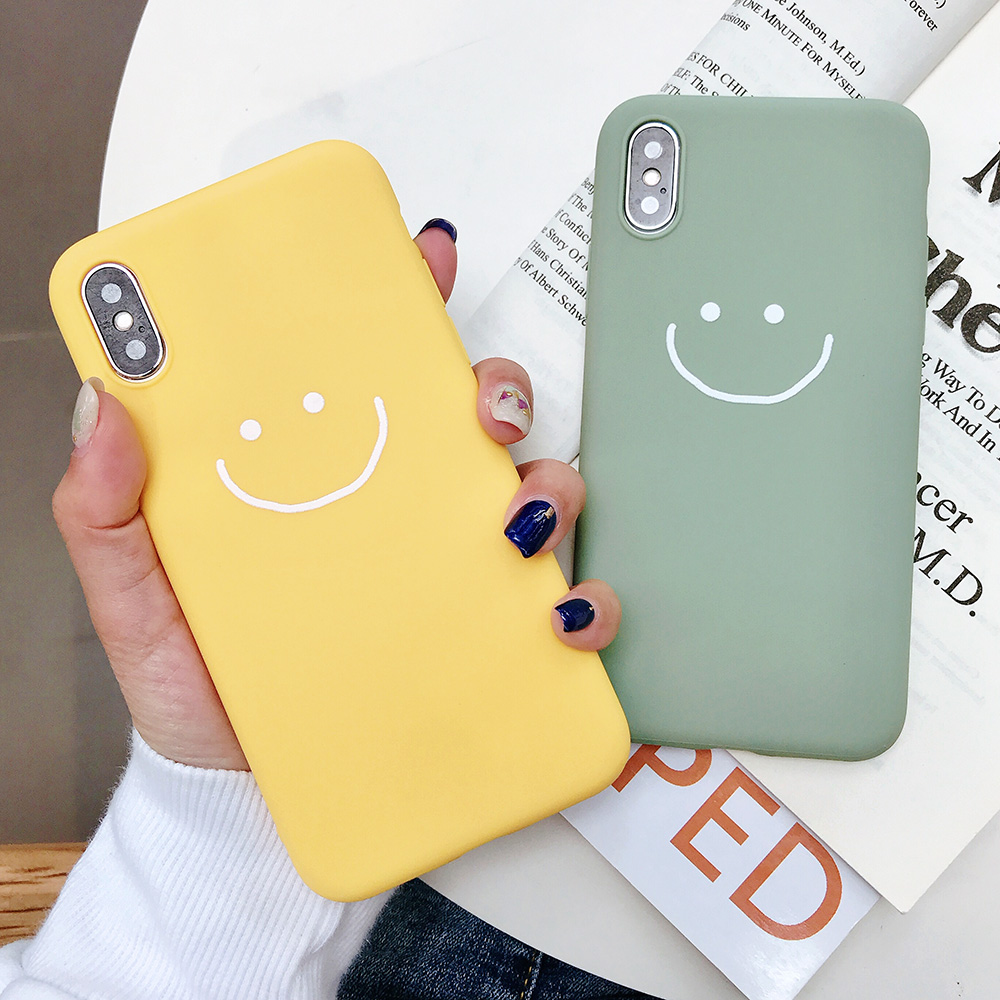 KIPX1083_7_JONSNOW Phone Case for iPhone X XR XS Max Candy Color Smiley Pattern Soft Silicone Case for iPhone 7 8 6S 6 Plus Back Cover
