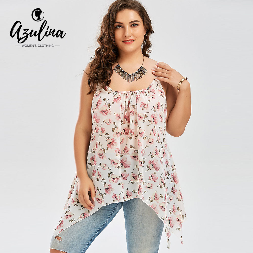 5c8c670f27ced Detail Feedback Questions about AZULINA Plus Size Chiffon Floral Asymmetric Cami  Top Women Tops Tees Summer Spaghetti Strap Sleeveless Ladies Camis Big Size  ...