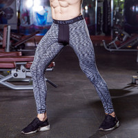 Compression Tights For Male Gyms Fitness Pants Slim Fit Long Pant Trousers Skinny Clothing Strench Black White Gray Underpants