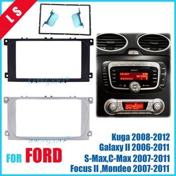 2 דין רכב רדיו Fascia עבור פורד פוקוס השני מונדיאו Kuga S-MAX מקסימום גלקסי II סטריאו ערכת דאש Fit Trim Facia מסגרת 2di