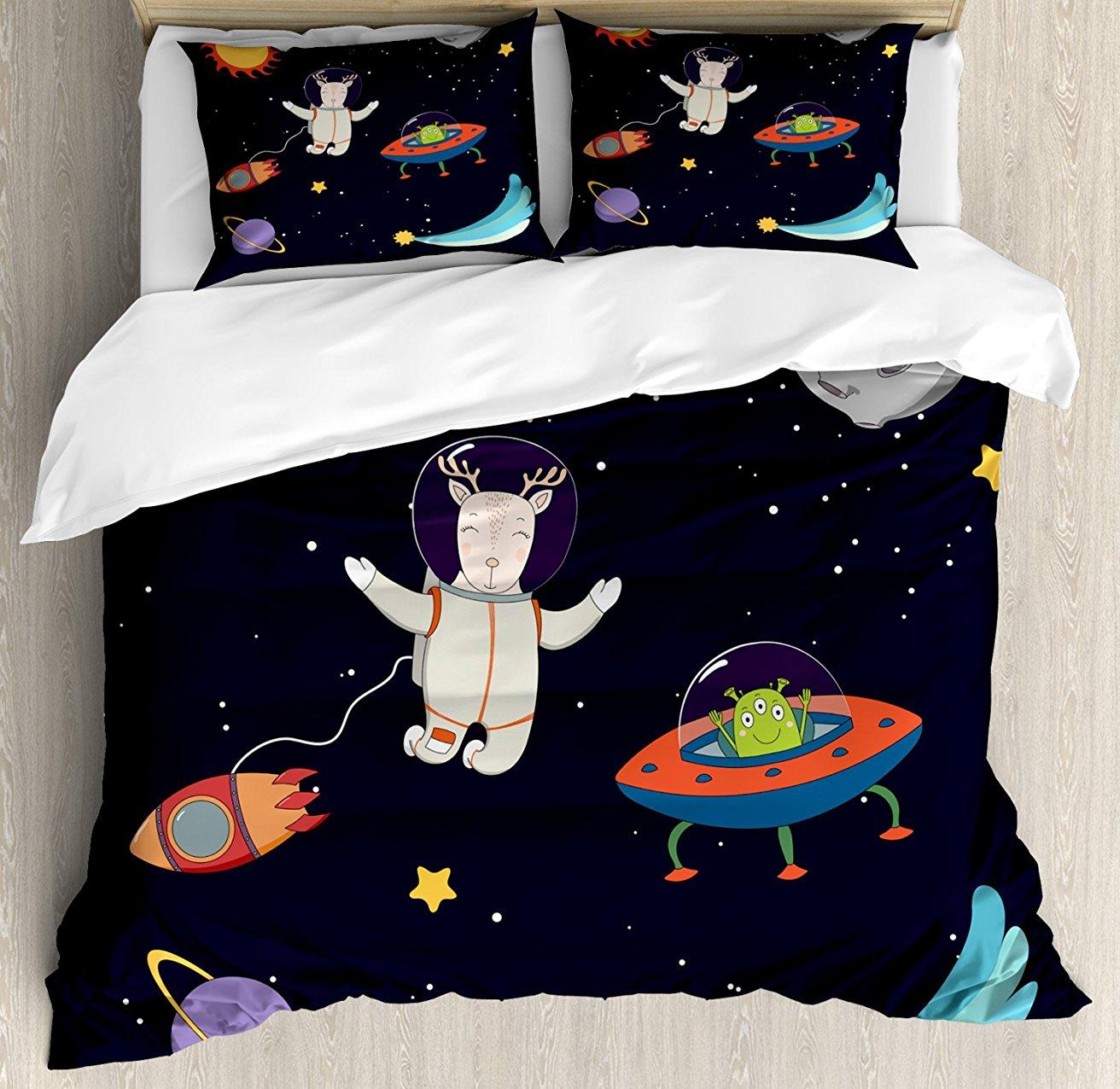 Постельное белье, рисованной олень астронавт в пространство с Солнца и Луны Shooting Star и чужой планете, 4 шт. Постельное белье