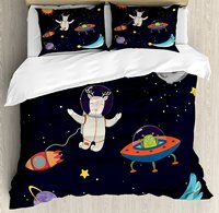 Duvet Cover Set, Hand Drawn Deer Astronaut in Space with Sun Moon Shooting Star and Alien Planet, 4 Piece Bedding Set