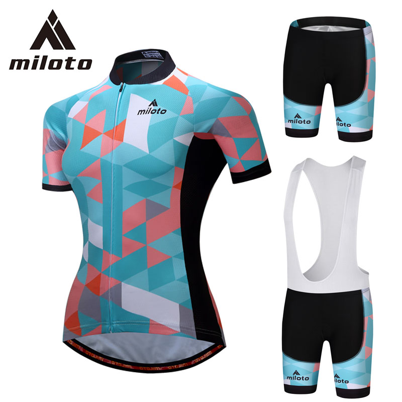 MILOTO Blue Cycling Jersey Kits Women Road Bicycle Roupa Ciclismo Bike Clothing Set MTB Bib Shorts Sport Clothes Sets Gel Pads veobike fluorescence cycling jersey set men autumn outdoor sport mtb bike bicycle quick dry long sleeve clothes ropa de ciclismo