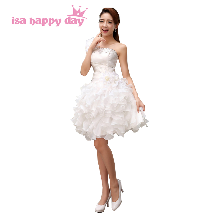 modern pretty sweet 16 sleeveless brides maids one shoulder bridesmaid short dresses for teens party dress tulle 2020 H2141