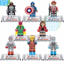 8pcs D854 Super Heroes Avengers Building Blocks crystal Mini figures scarlet vision nick fury IronMan MiniFigure Bricks Toy