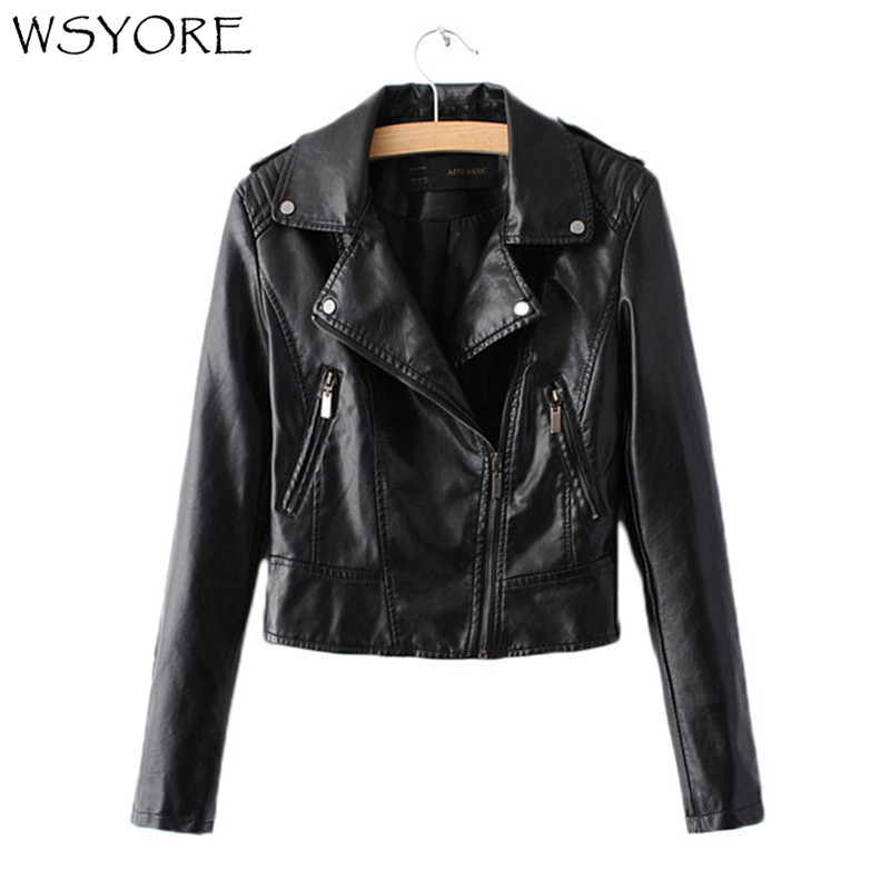 WSYORE Women Faux   Leather   Motorcycle Spring Jackets 2019 New Autumn Black PU Casual Slim Fit Short Coats Biker Jacket NS297