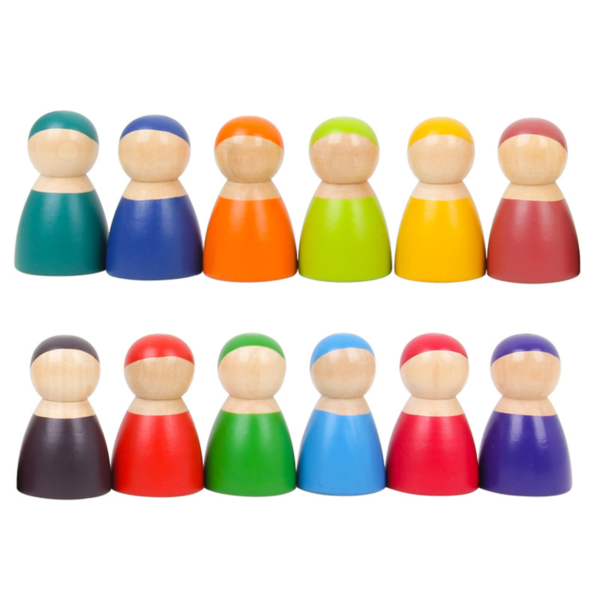Montessori Set Of 12 Rainbow Friends Peg Dolls Wooden Pretend Play People Figures Baby Toy Environmental Safety Paint