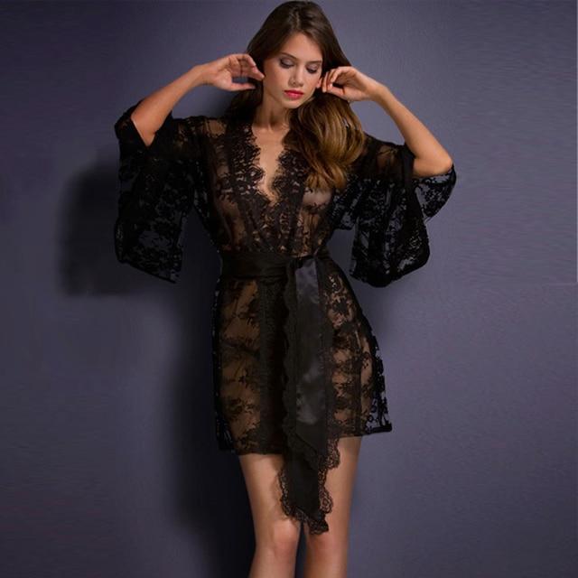 Hot Sexy Lingerie Sheer See Through White Black Lace Kimono Nightwear Sleepwear Night Robe Gown Bathrobe Pajamas Nightgown 21998